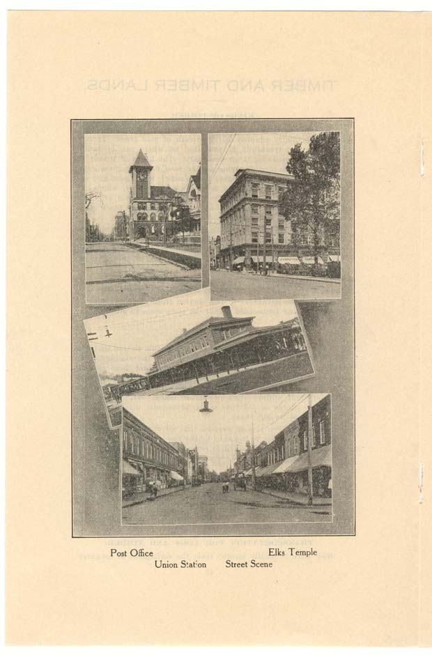 Photographs of the Post Office, Elks Temple, Union Station, and a Street Scene.