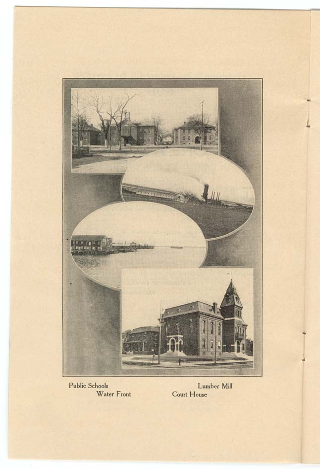 Photos of Public Schools, Water Front, Lumber Mill, and Craven County Court House.