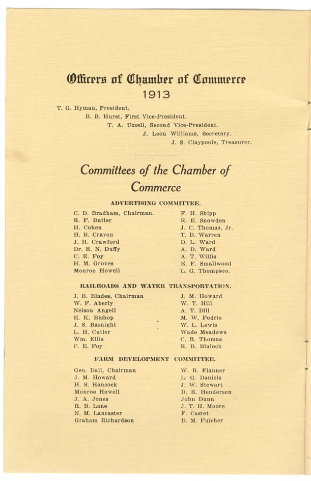 Inside Cover with names of Chamber officers
